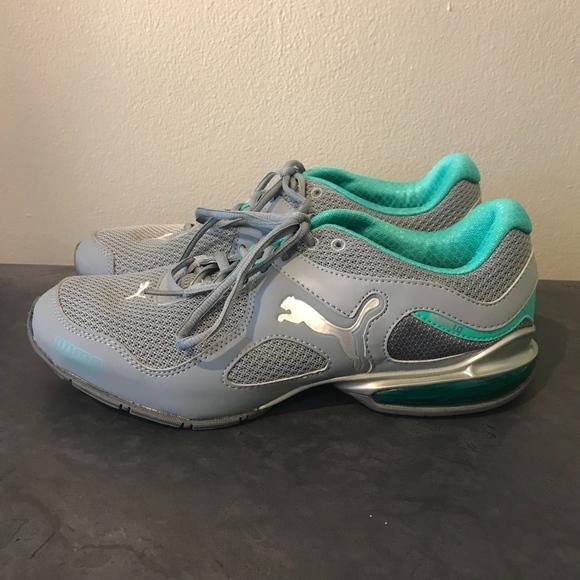 272a07af8984d8 Puma eco ortholite running shoes in aqua and gray.  M 5a8c1bba36b9de7584cf1f24